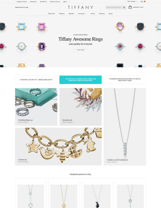 Tiffany - Jewelry Responsive Magento Theme